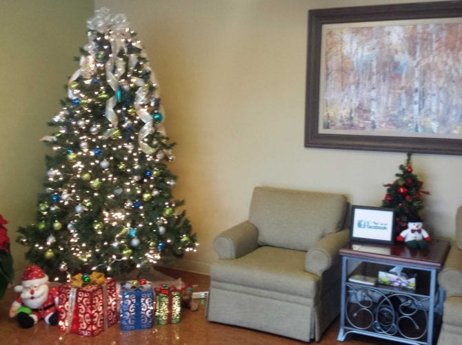 Front lobby decorated for Christmas