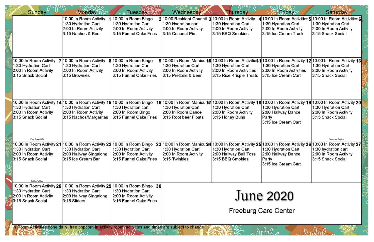 June 2020 Calendar of Events